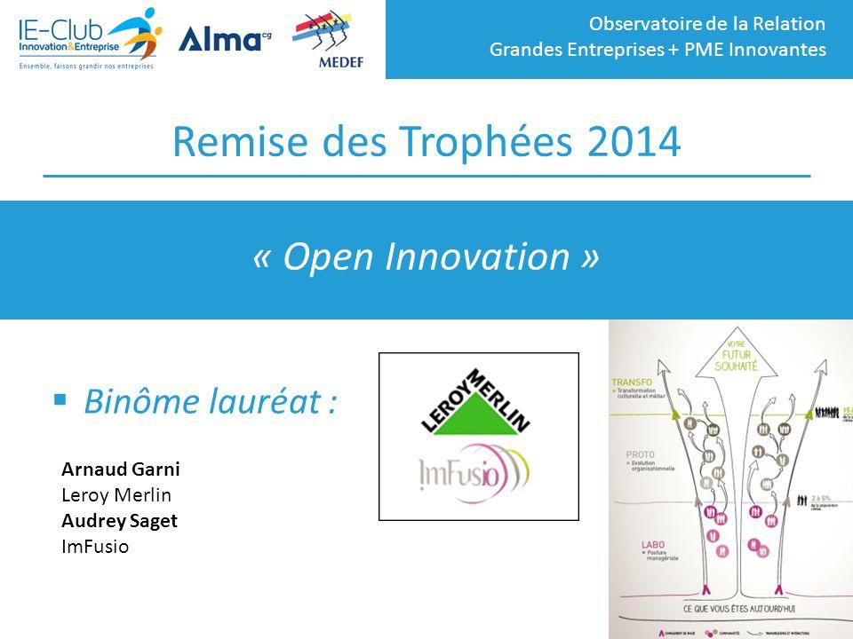 Remise des Trophées 2014 « Open Innovation » Binôme lauréat :