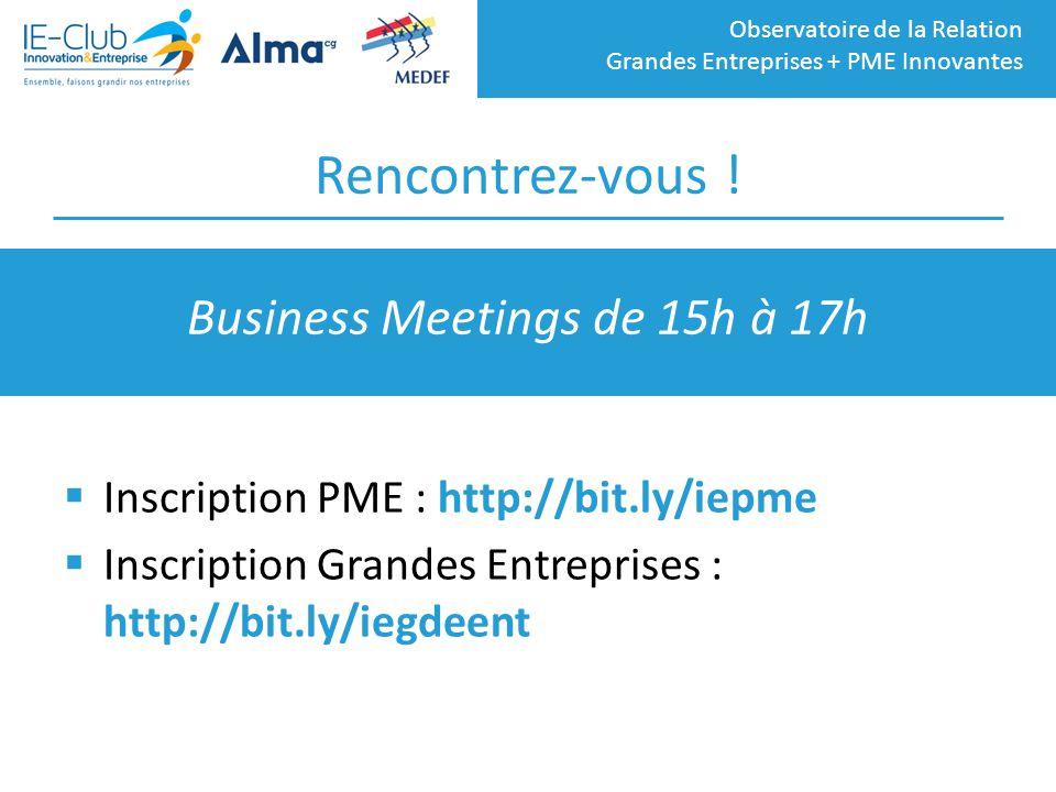 Business Meetings de 15h à 17h