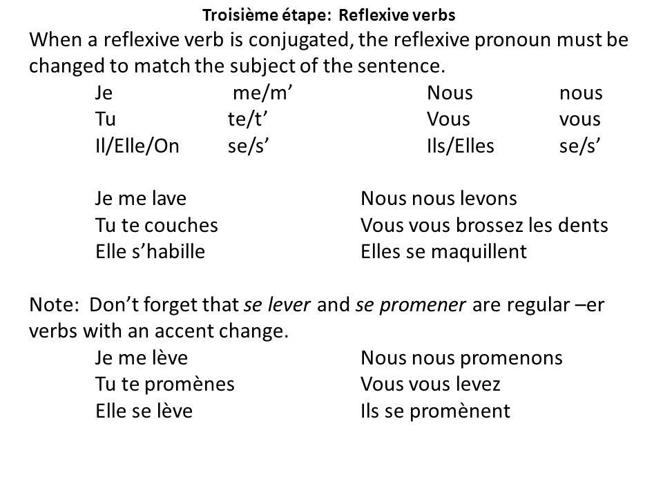 Troisième étape: Reflexive verbs