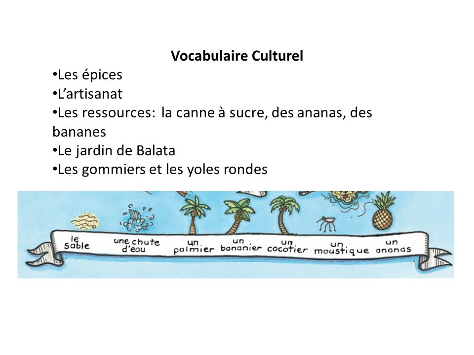 Vocabulaire Culturel Les épices. L'artisanat. Les ressources: la canne à sucre, des ananas, des bananes.