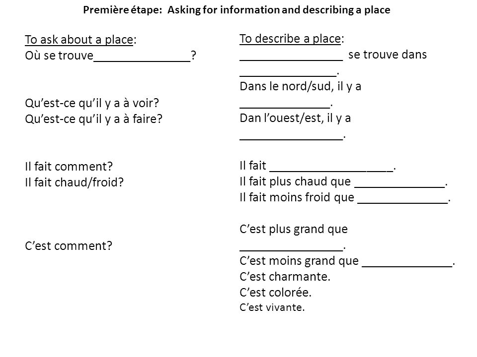 Première étape: Asking for information and describing a place