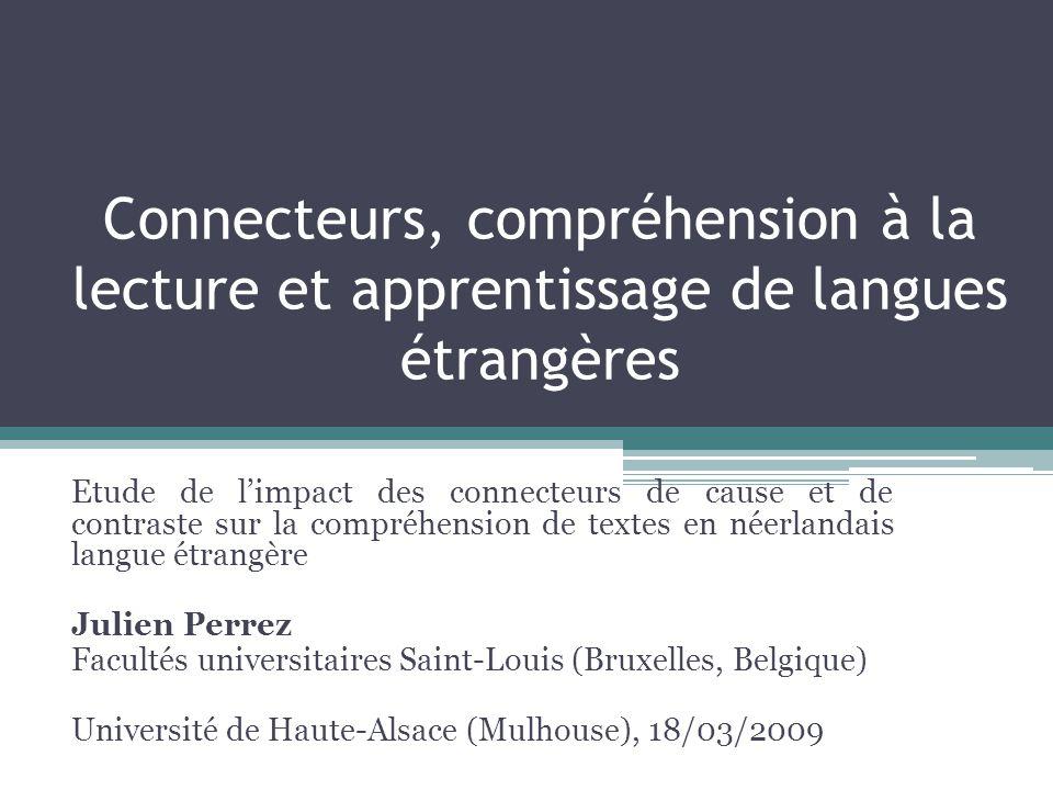 Connecteurs, compréhension à la lecture et apprentissage de langues étrangères