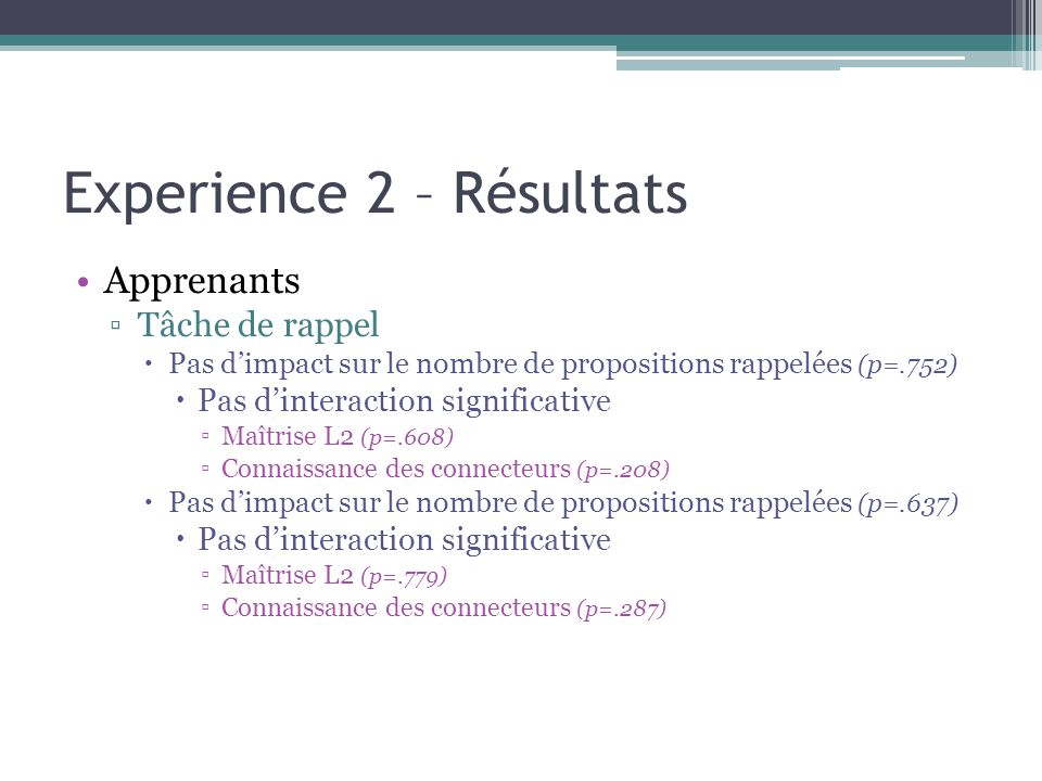 Experience 2 – Résultats