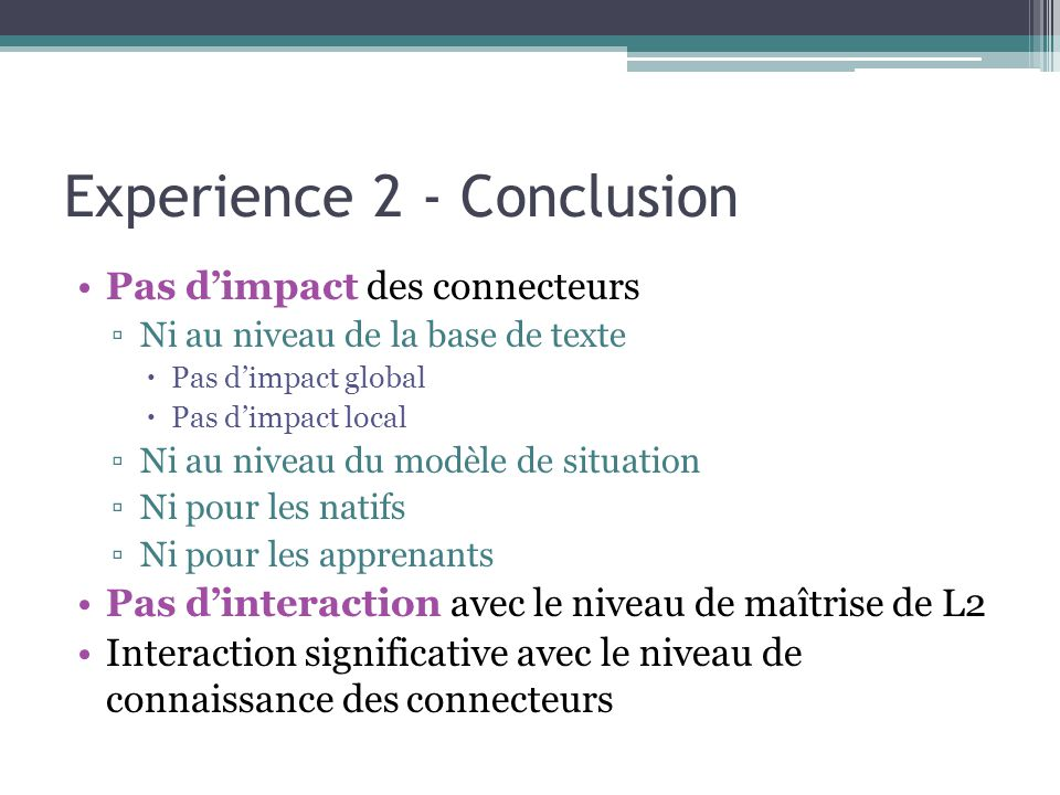 Experience 2 - Conclusion