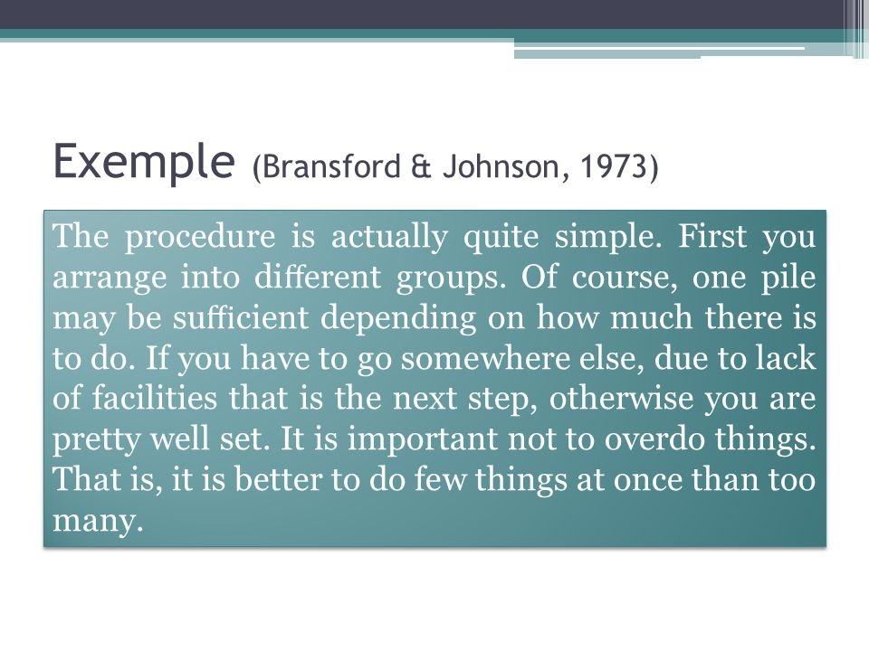 Exemple (Bransford & Johnson, 1973)