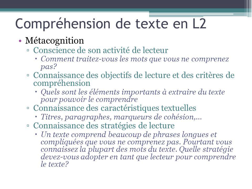 Compréhension de texte en L2