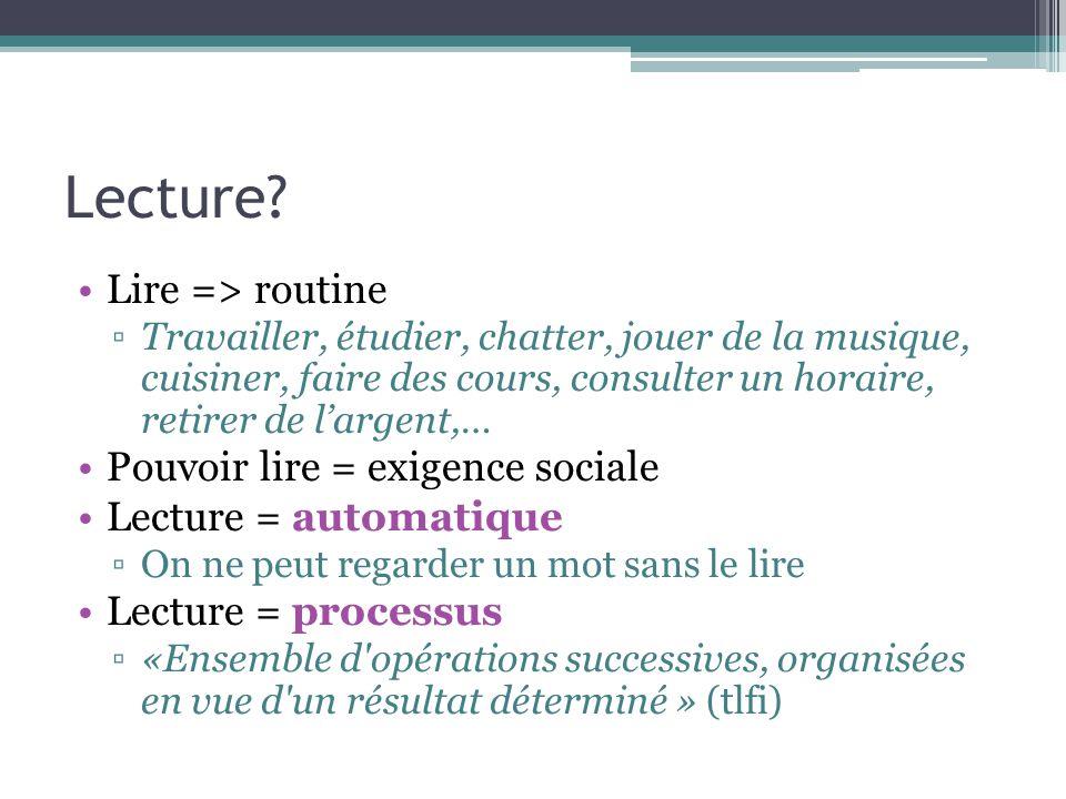 Lecture Lire => routine Pouvoir lire = exigence sociale