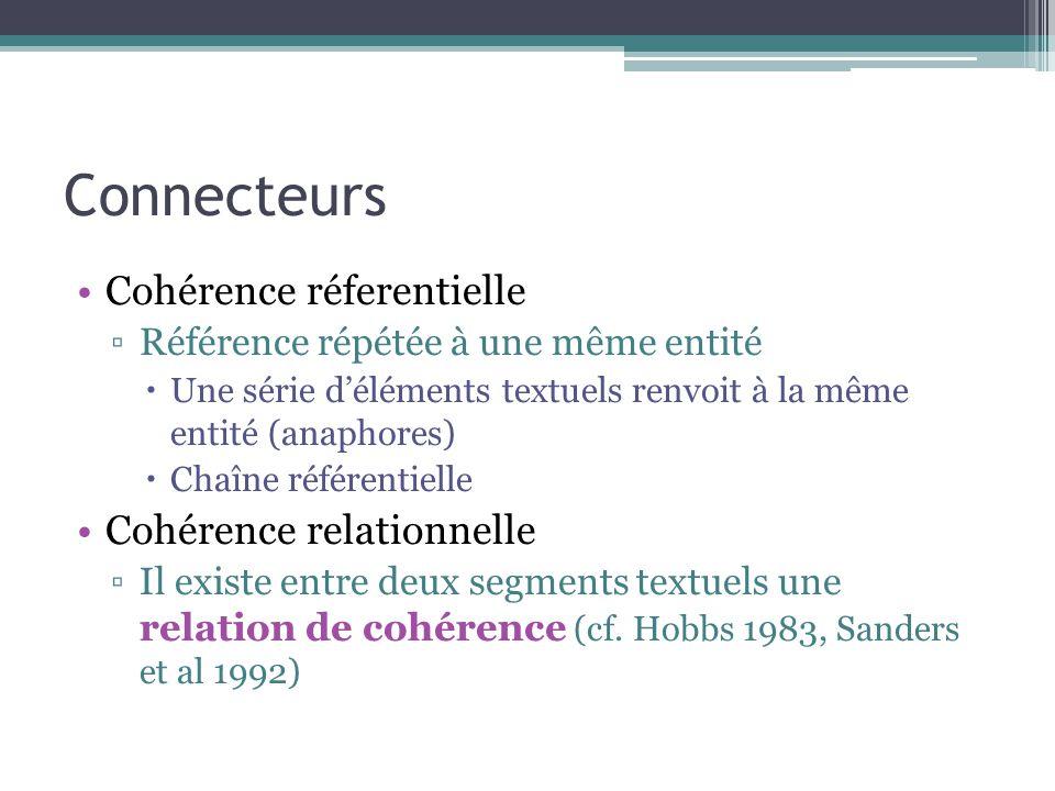 Connecteurs Cohérence réferentielle Cohérence relationnelle