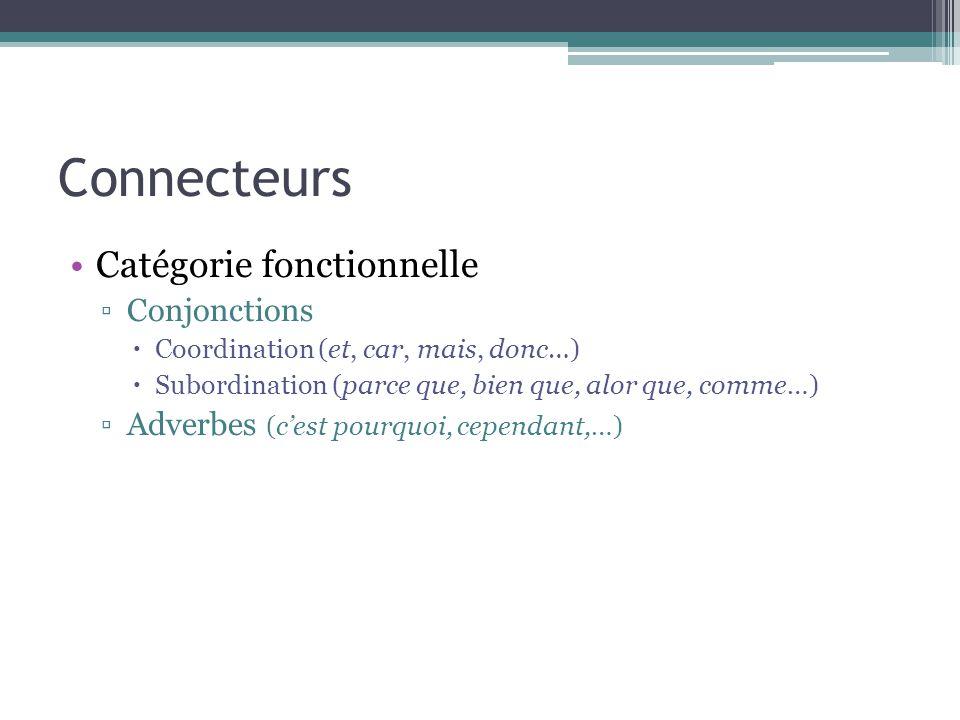 Connecteurs Catégorie fonctionnelle Conjonctions