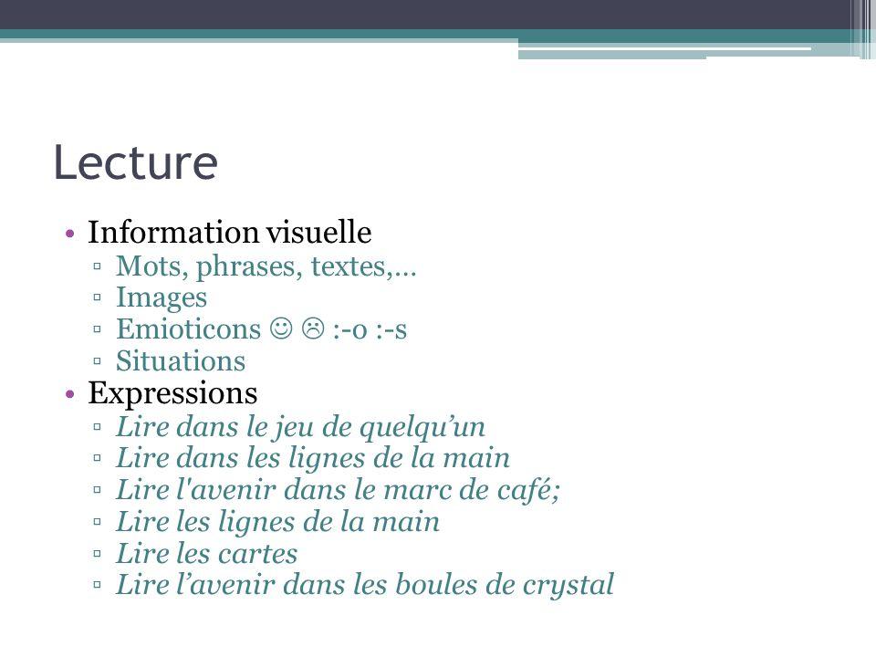 Lecture Information visuelle Expressions Mots, phrases, textes,…