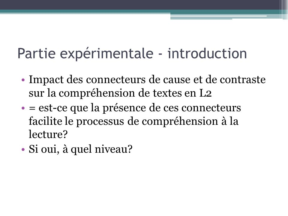 Partie expérimentale - introduction