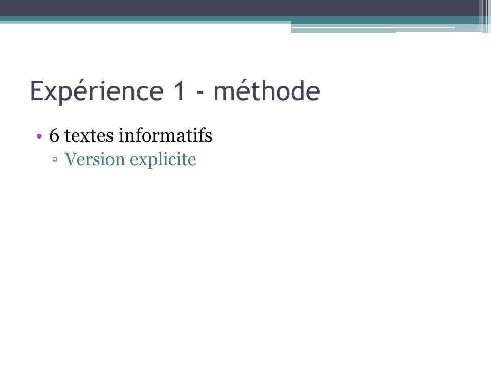 Expérience 1 - méthode 6 textes informatifs Version explicite