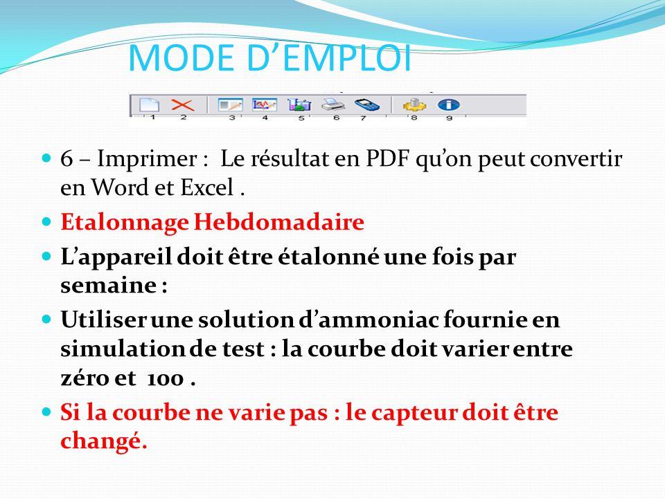 MODE D'EMPLOI 6 – Imprimer : Le résultat en PDF qu'on peut convertir en Word et Excel . Etalonnage Hebdomadaire.