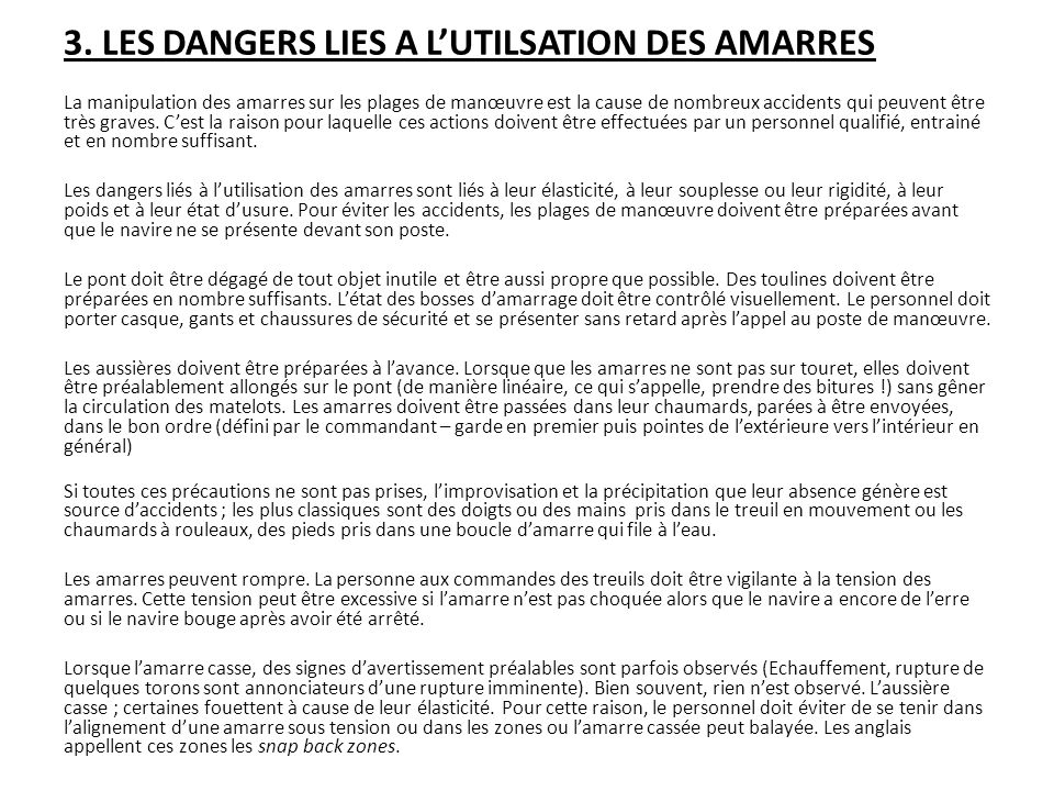 3. LES DANGERS LIES A L'UTILSATION DES AMARRES
