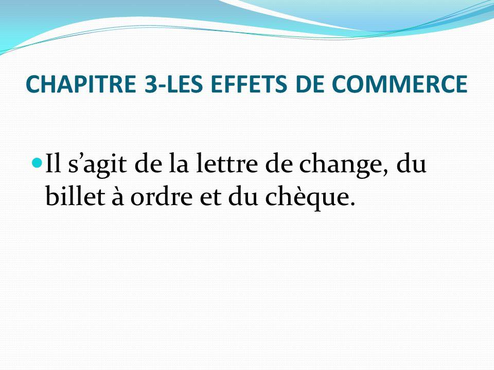 CHAPITRE 3-LES EFFETS DE COMMERCE