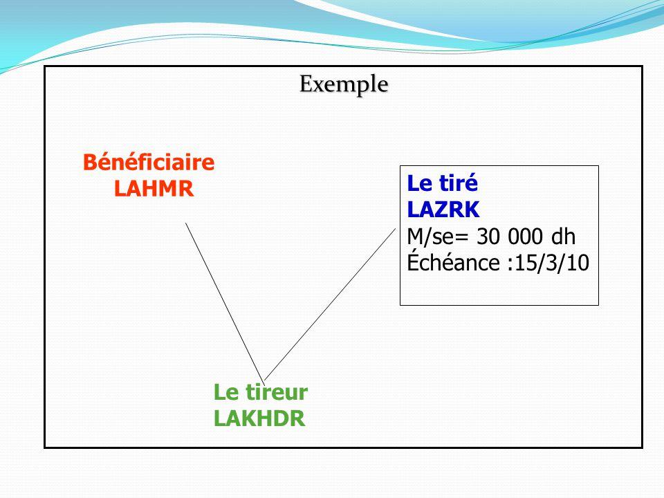 Exemple Bénéficiaire LAHMR Le tiré LAZRK M/se= 30 000 dh