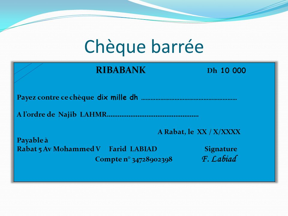 Chèque barrée RIBABANK Dh 10 000