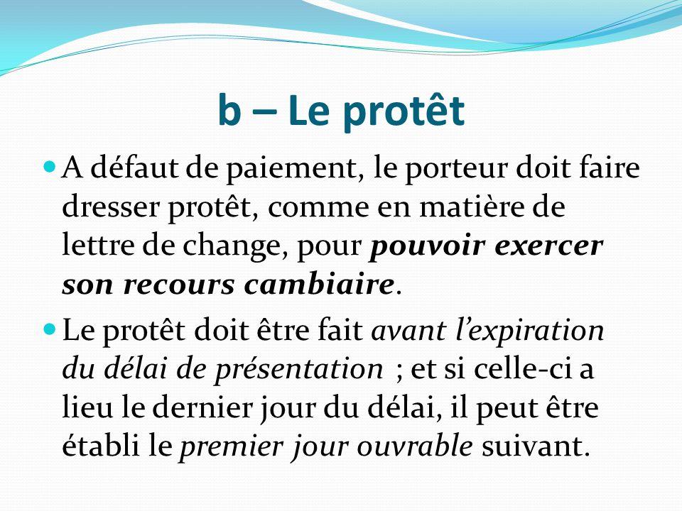 b – Le protêt