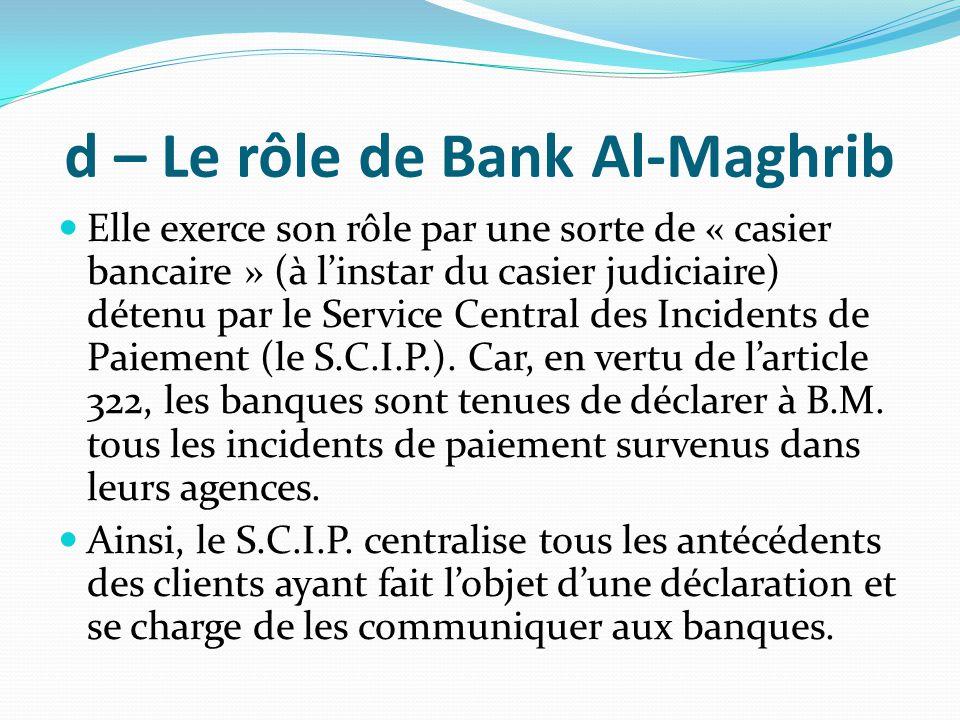 d – Le rôle de Bank Al-Maghrib