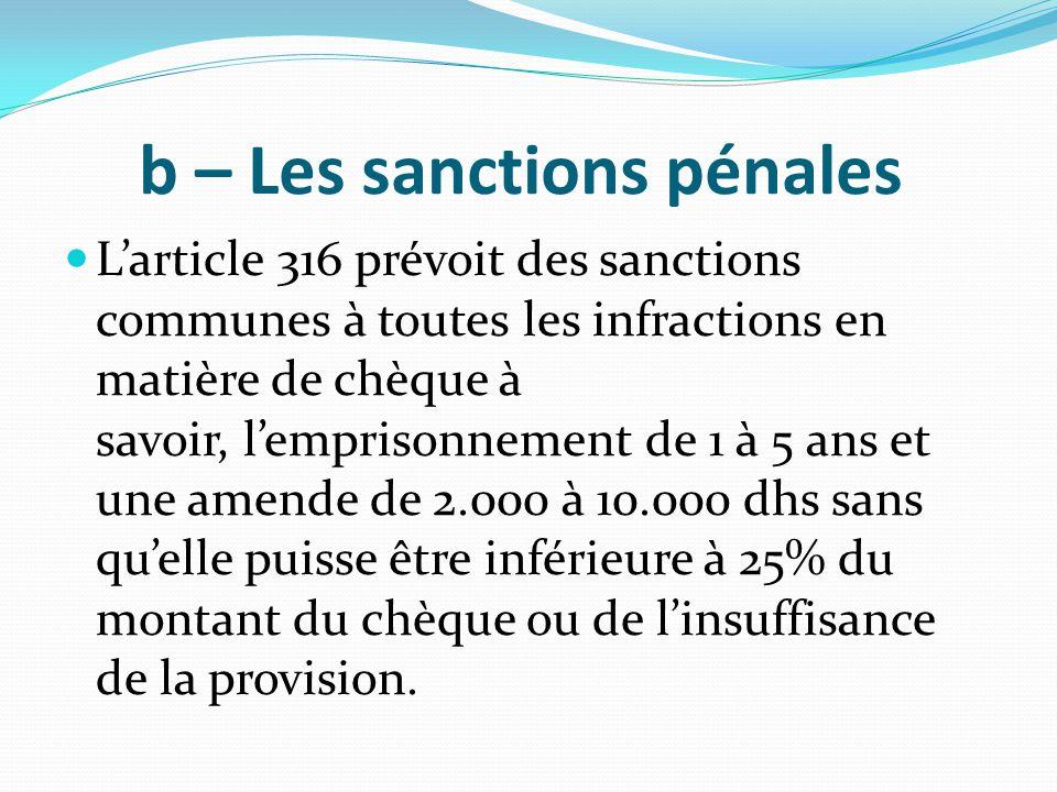 b – Les sanctions pénales