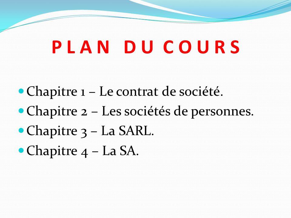 P L A N D U C O U R S Chapitre 1 – Le contrat de société.