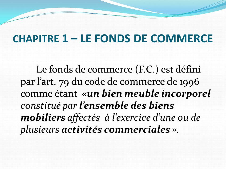 Chapitre 1 – LE FONDS DE COMMERCE