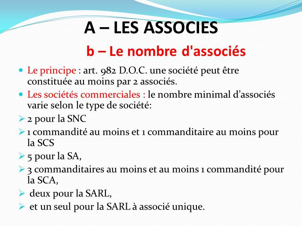 A – LES ASSOCIES b – Le nombre d associés