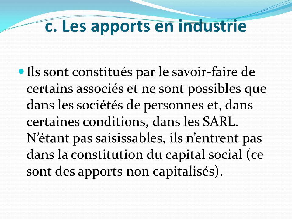 c. Les apports en industrie