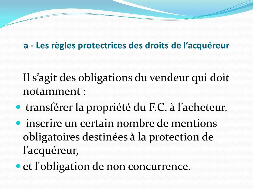 a - Les règles protectrices des droits de l'acquéreur