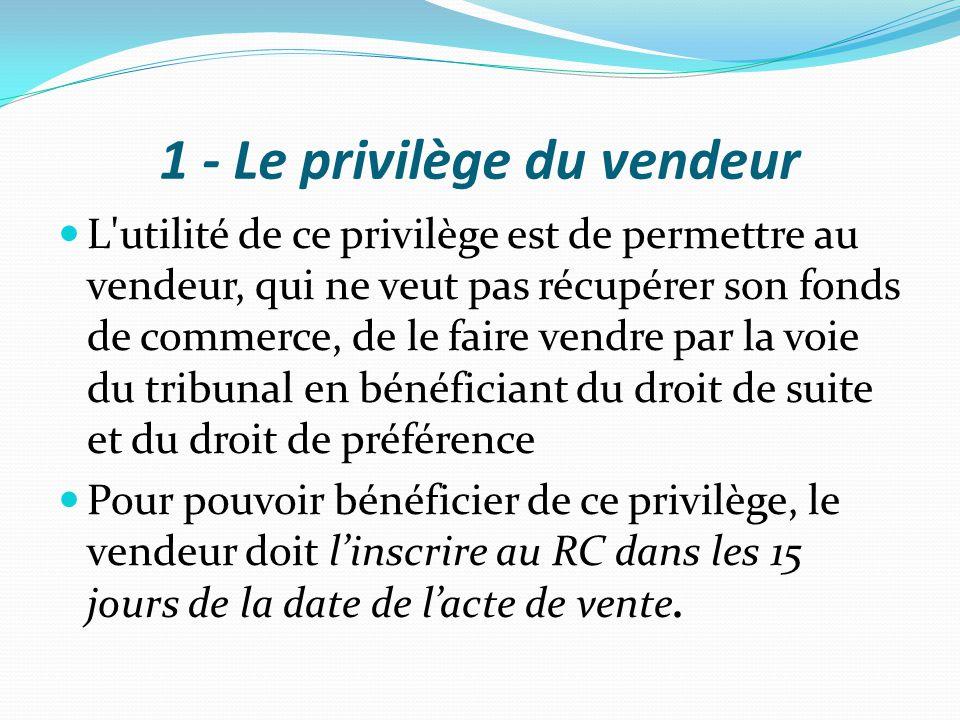 1 - Le privilège du vendeur