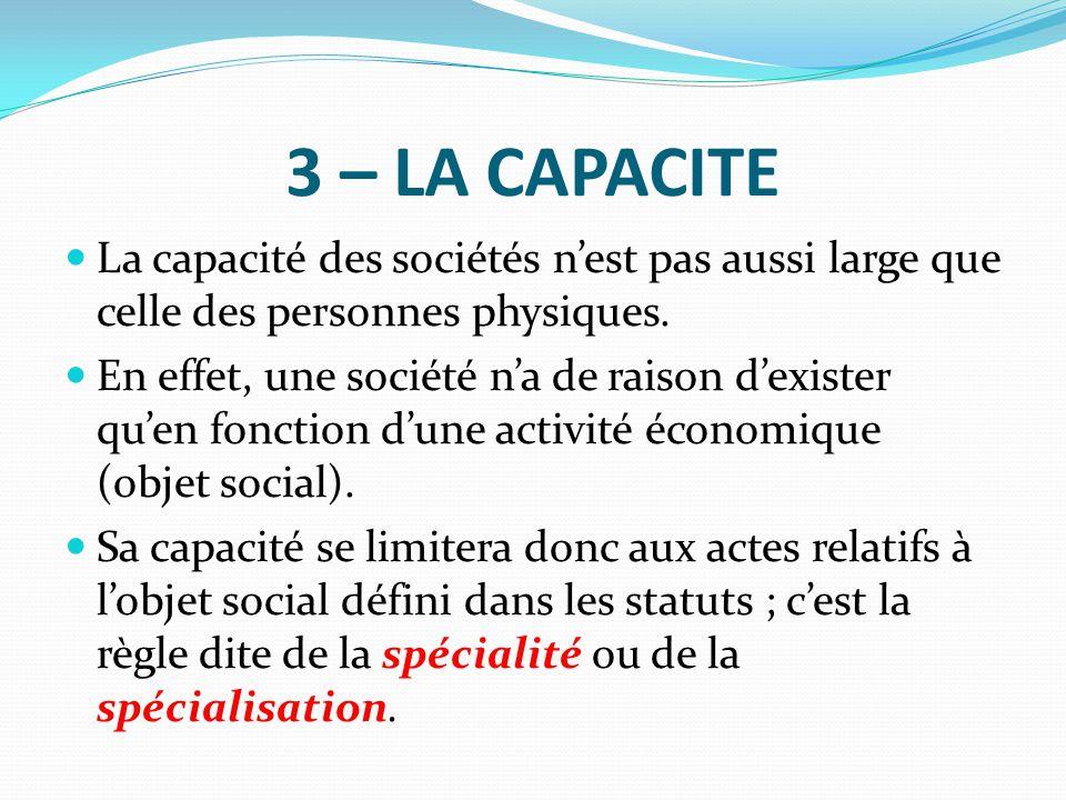 3 – LA CAPACITE La capacité des sociétés n'est pas aussi large que celle des personnes physiques.