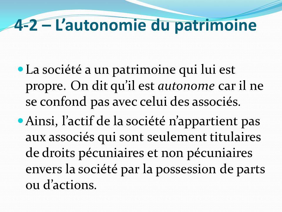 4-2 – L'autonomie du patrimoine