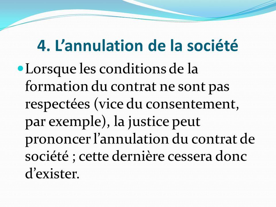 4. L'annulation de la société