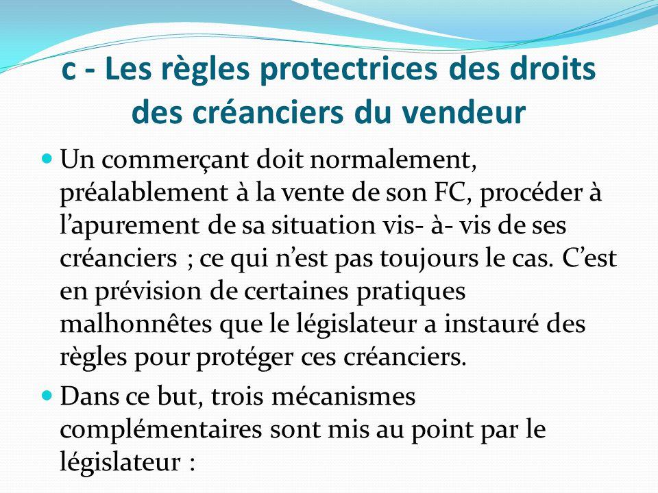 c - Les règles protectrices des droits des créanciers du vendeur