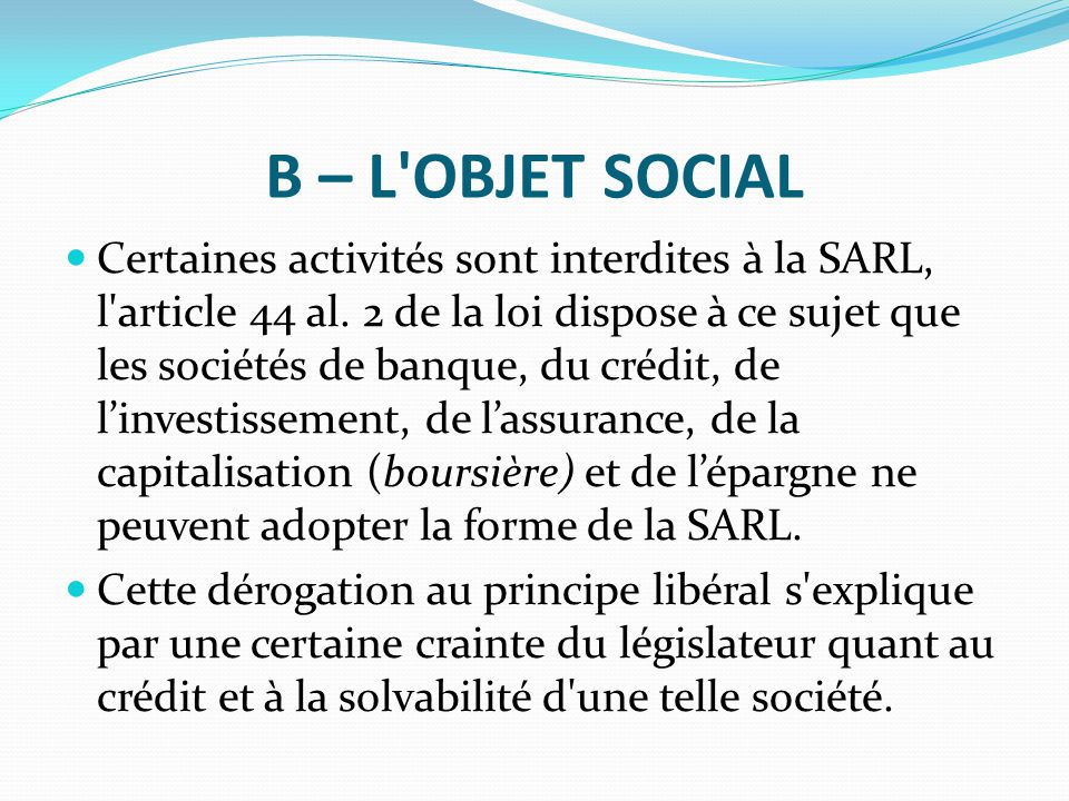 B – L OBJET SOCIAL