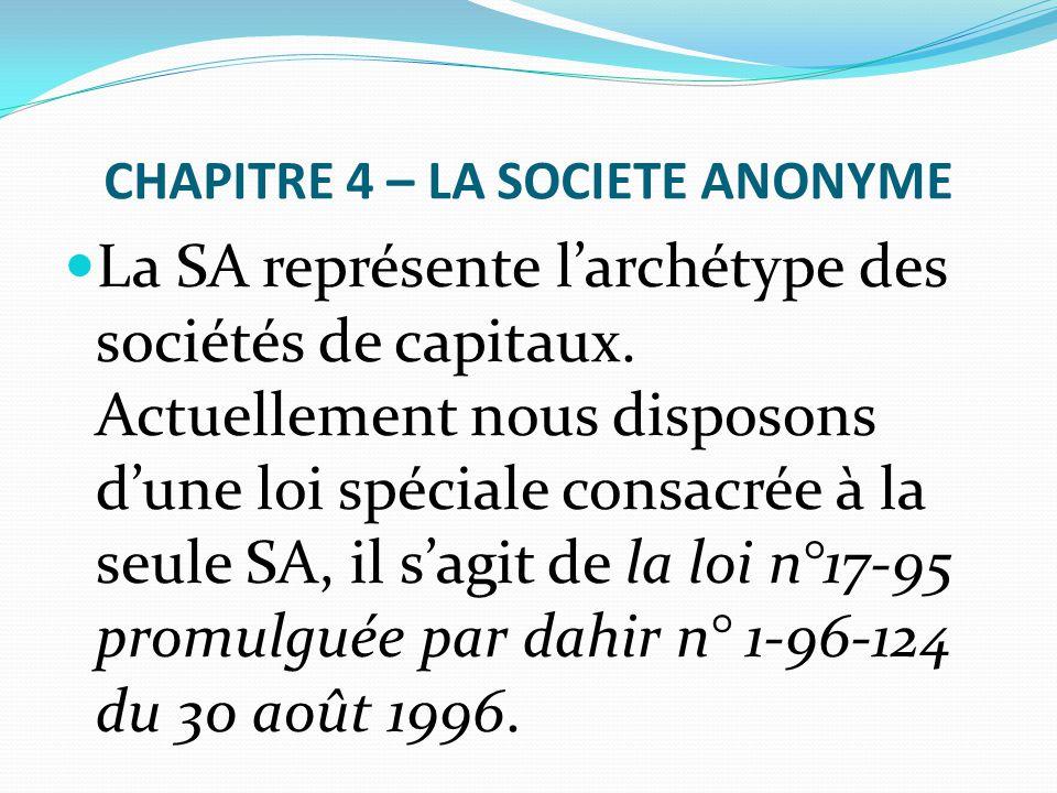 CHAPITRE 4 – LA SOCIETE ANONYME