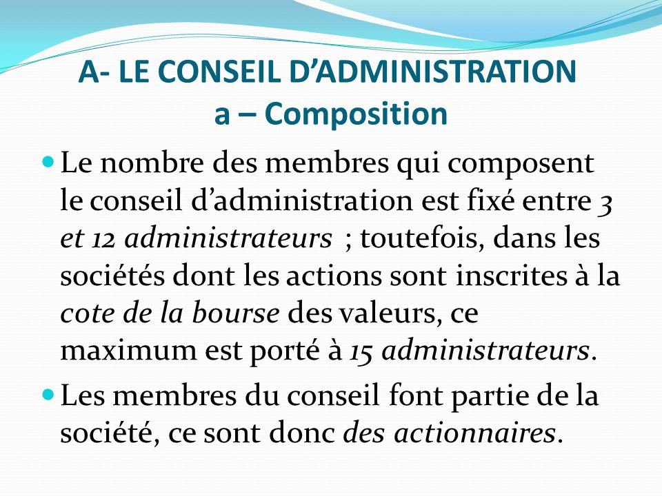 A- LE CONSEIL D'ADMINISTRATION a – Composition