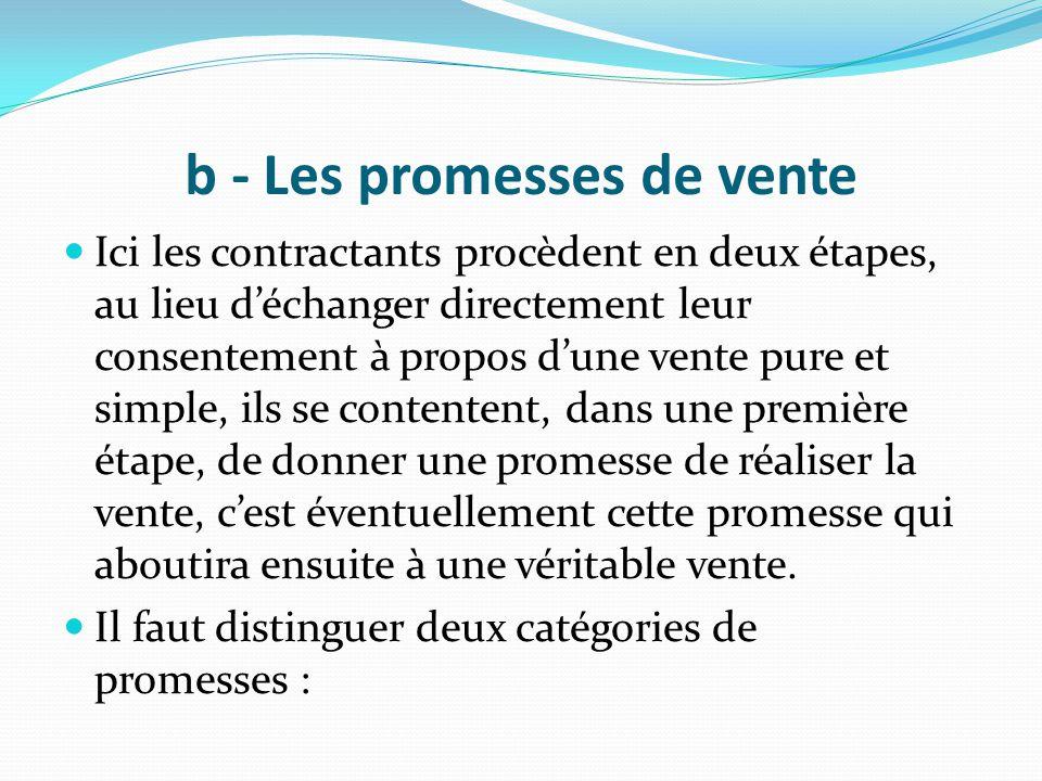 b - Les promesses de vente