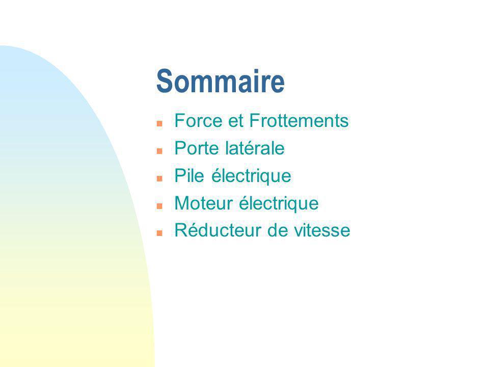 Sommaire Force et Frottements Porte latérale Pile électrique