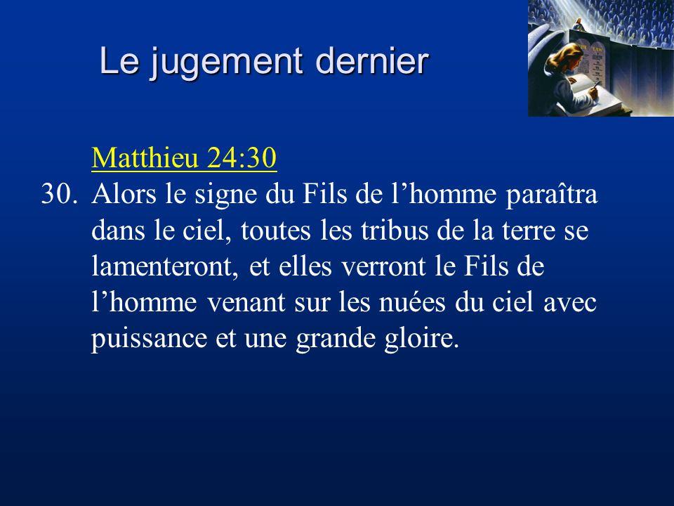 Le jugement dernier Matthieu 24:30