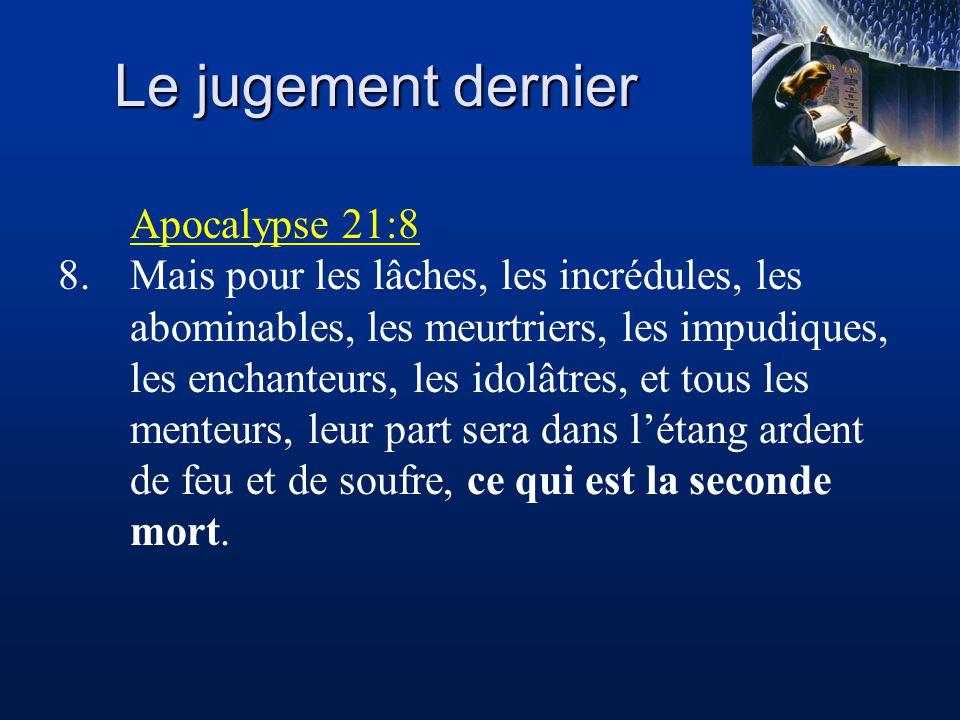 Le jugement dernier Apocalypse 21:8