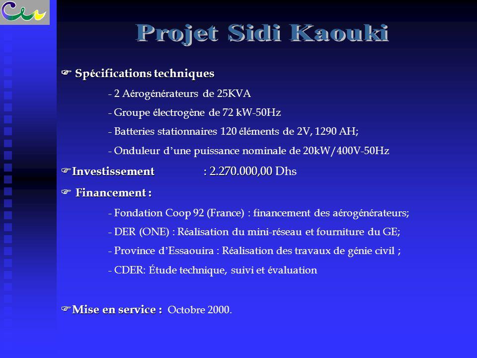 Projet Sidi Kaouki  Spécifications techniques