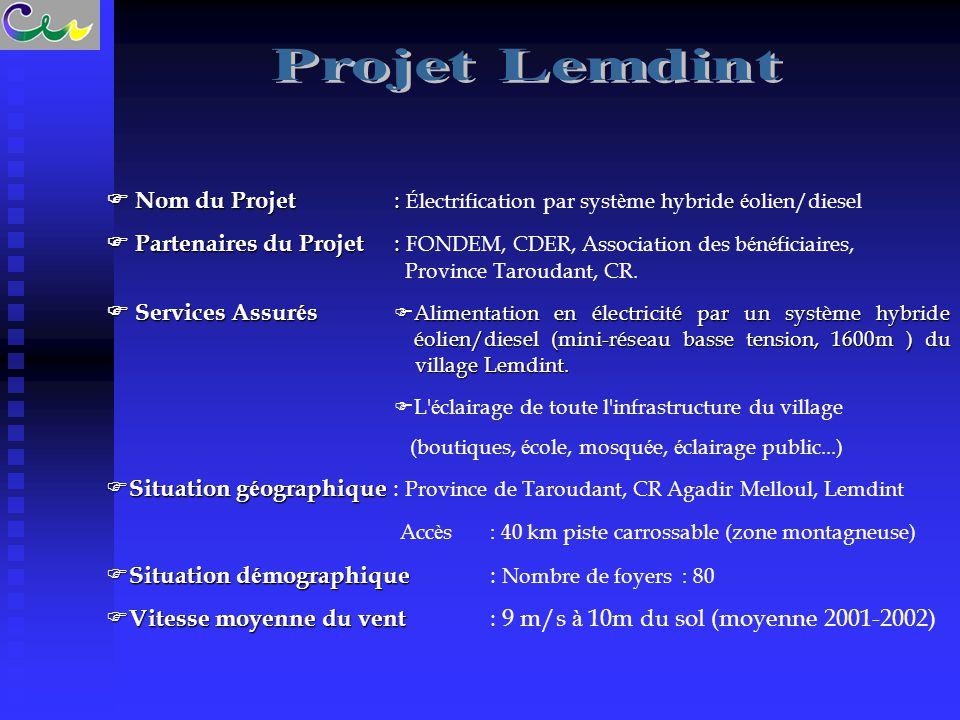 Projet Lemdint  Nom du Projet : Électrification par système hybride éolien/diesel.