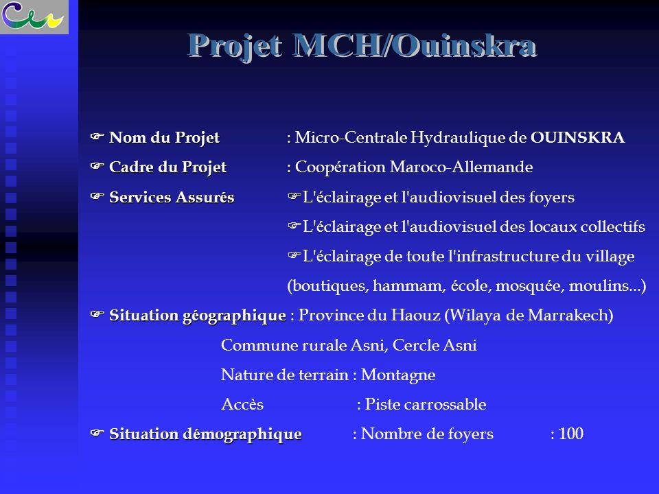 Projet MCH/Ouinskra  Nom du Projet : Micro-Centrale Hydraulique de OUINSKRA.  Cadre du Projet : Coopération Maroco-Allemande.