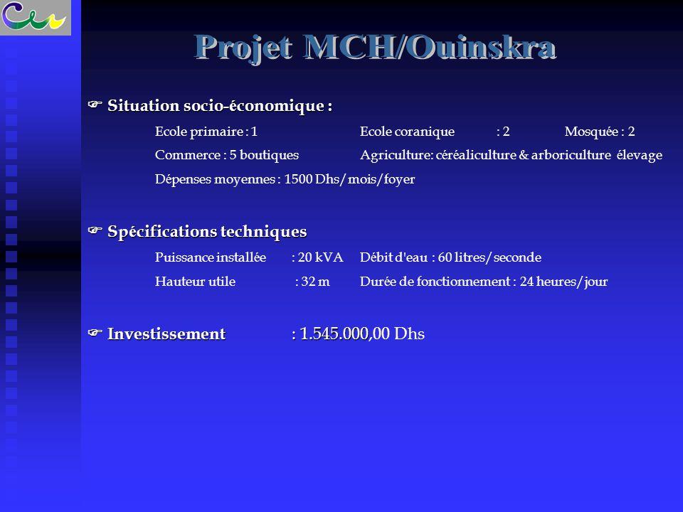 Projet MCH/Ouinskra  Situation socio-économique :