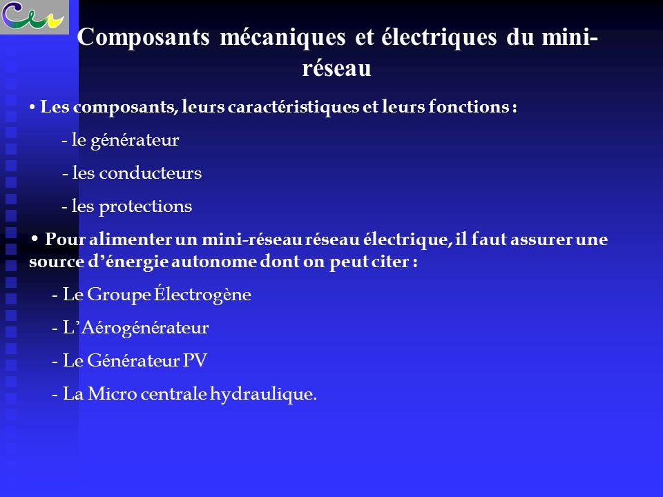 Composants mécaniques et électriques du mini-réseau