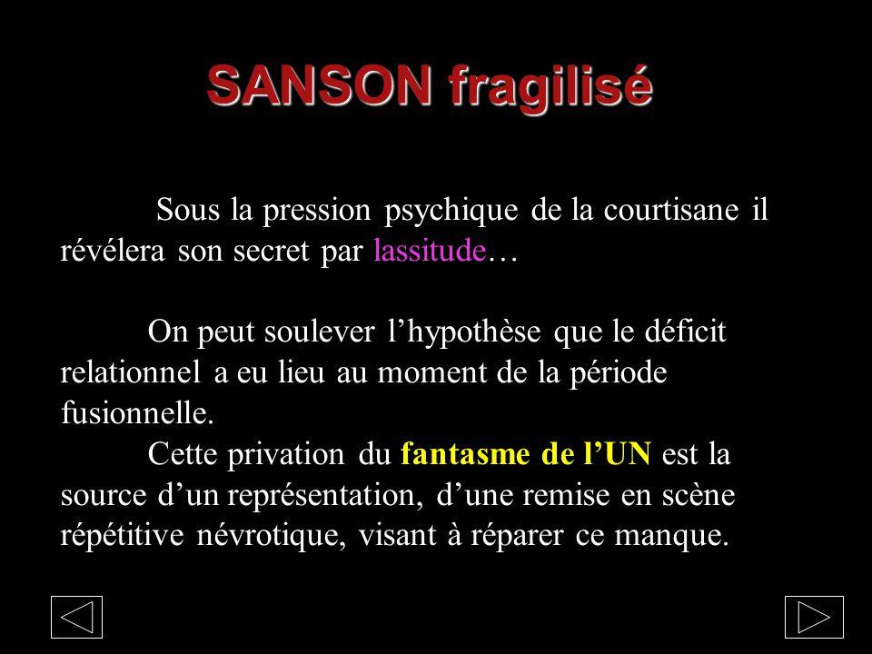 SANSON fragilisé Sous la pression psychique de la courtisane il révélera son secret par lassitude…