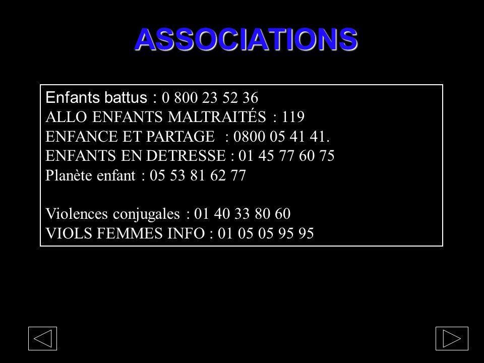 ASSOCIATIONS Enfants battus : 0 800 23 52 36