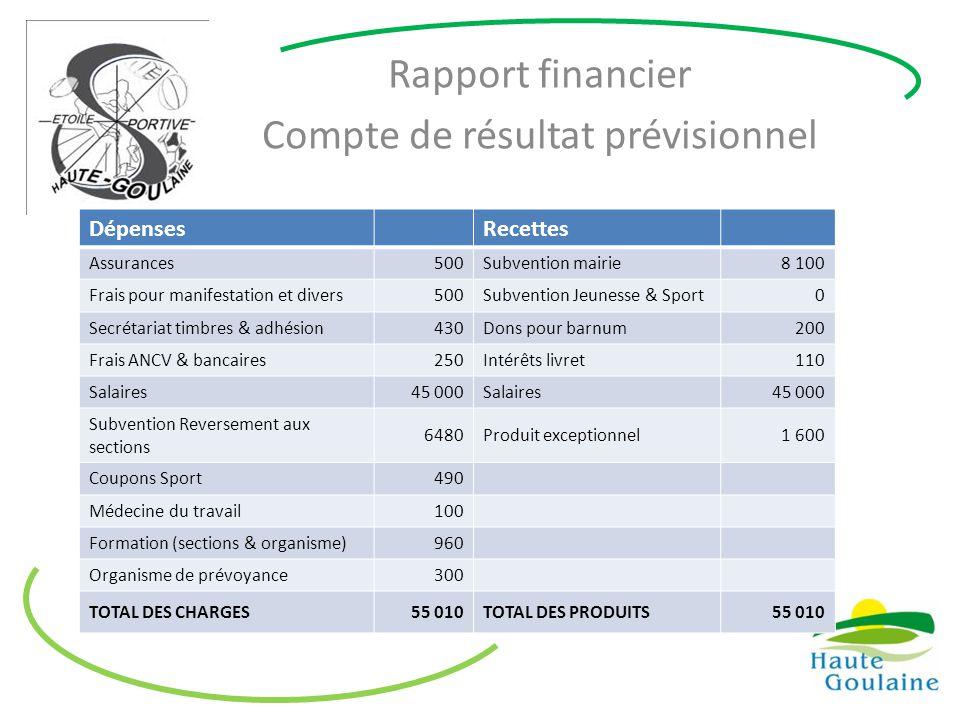 Rapport financier Compte de résultat prévisionnel