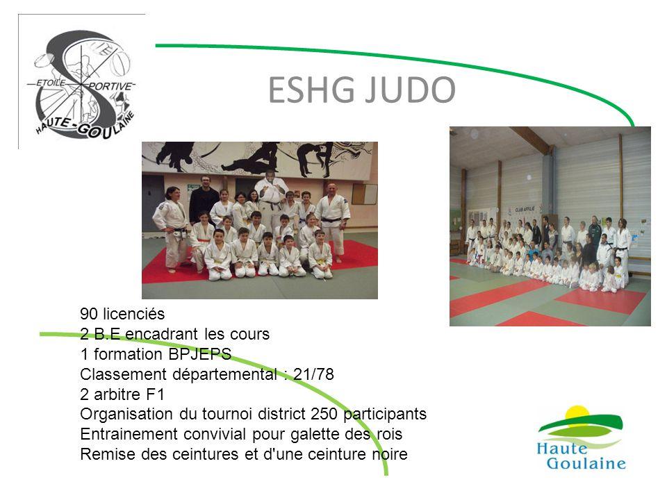 ESHG JUDO 90 licenciés 2 B.E encadrant les cours 1 formation BPJEPS